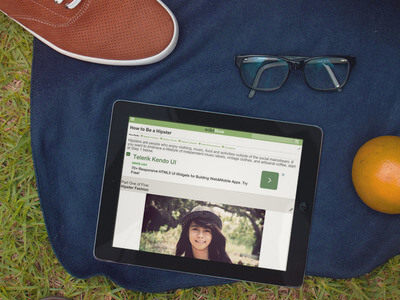 ipad mockup on grass