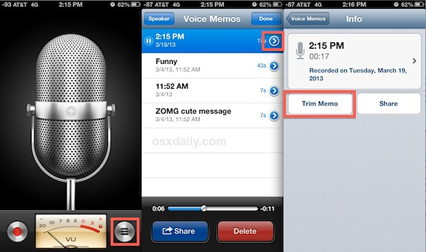 Shorten Voice Memo Recordings Iphone
