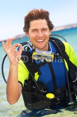 Stock Photo of a Male Scuba Diver
