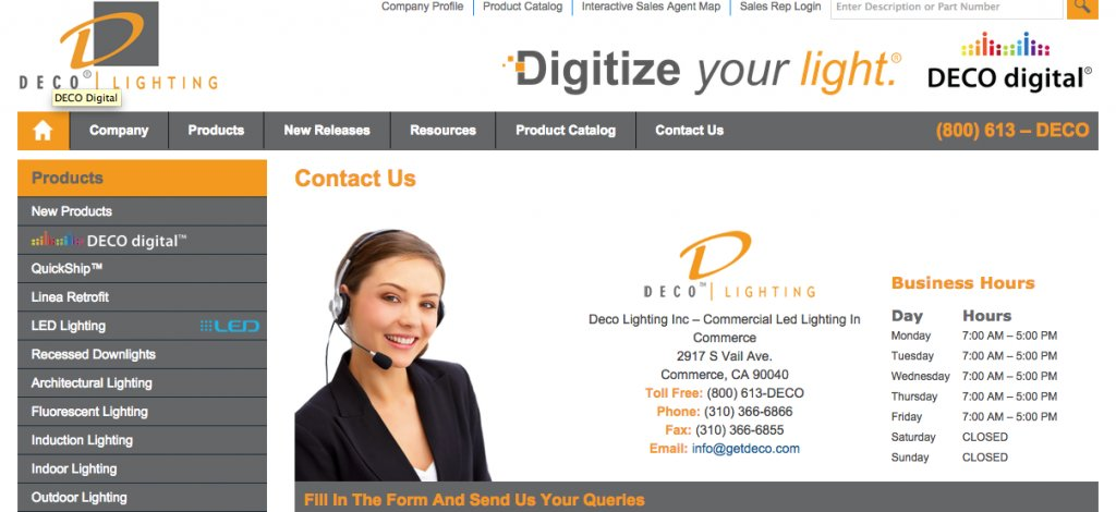 Stock Photo Model Featured on a Lighting Website
