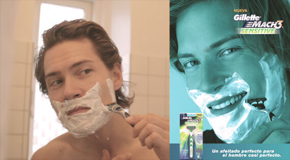 Stock Image Featuring a Man Shaving Alongside an Advertisement Using the Stock Image
