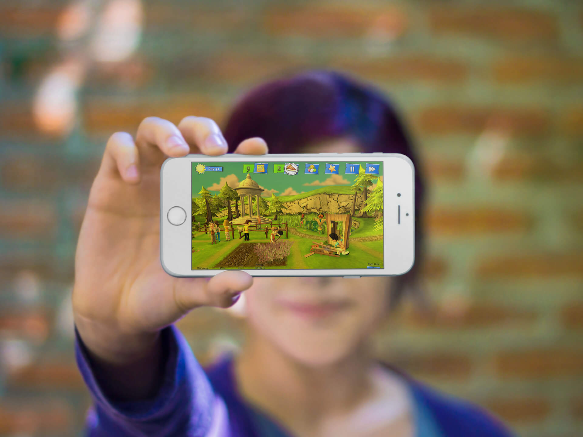 Gaming Iphone Mockup Little Girl