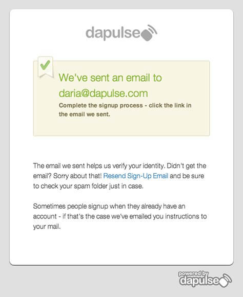 Dapulse Sign Up Form Before