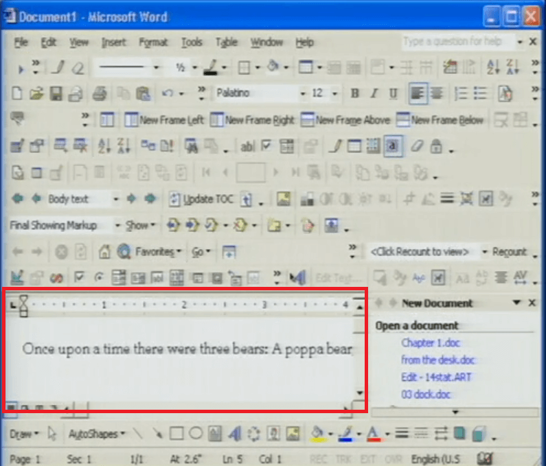 MS Word Screenshot