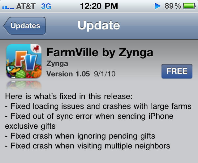 farmville iphone app update