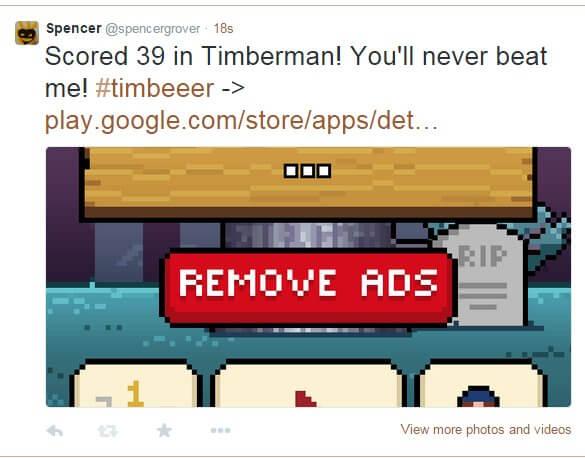 Tweet Screenshot of Timberman High Score