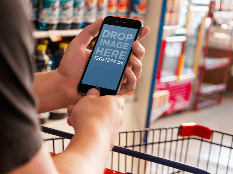 iPhone 6 Mockup being Used at a Grocery Store