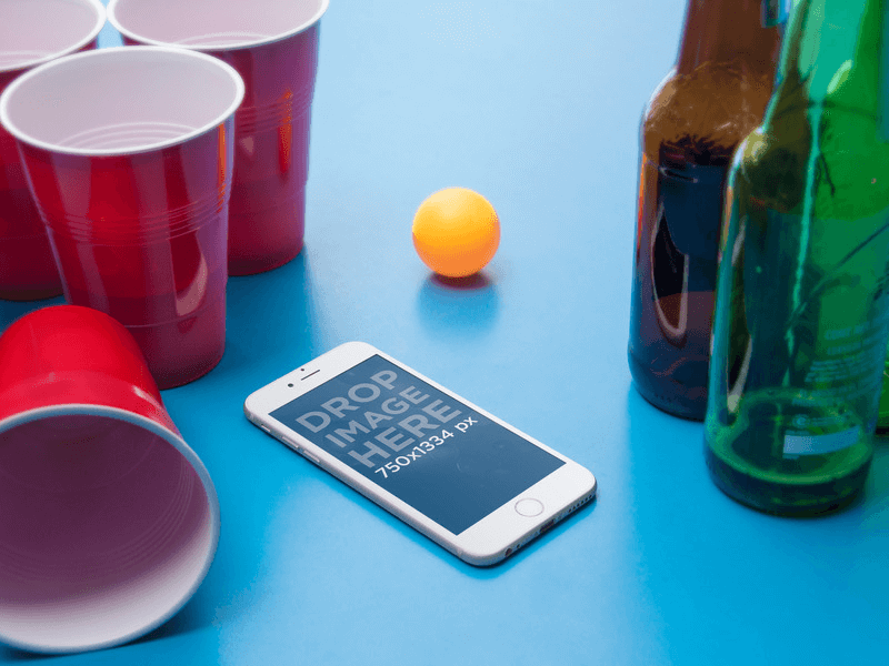 iPhone 6 on a Ping Pong Table With Beers