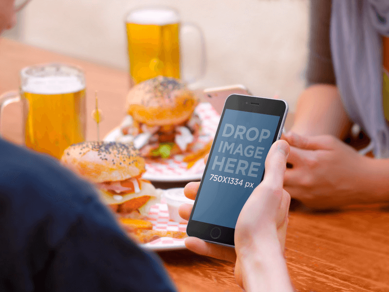 iphone mockup and beer
