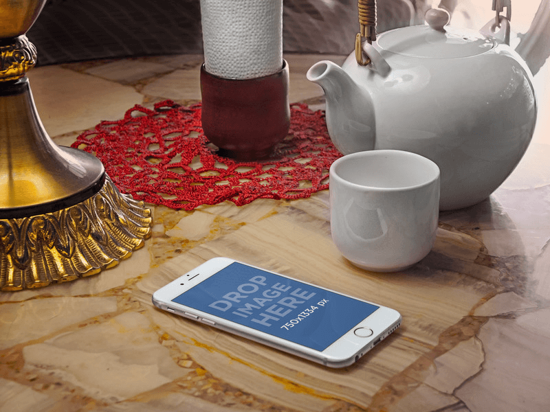 iphone mockup and tea