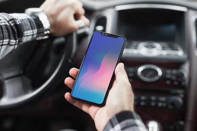 Iphone Car Free Mockup