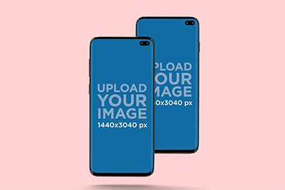 Mockup Of Two Samsung Galaxy S10 In Portrait Position Against A Plain Backdrop