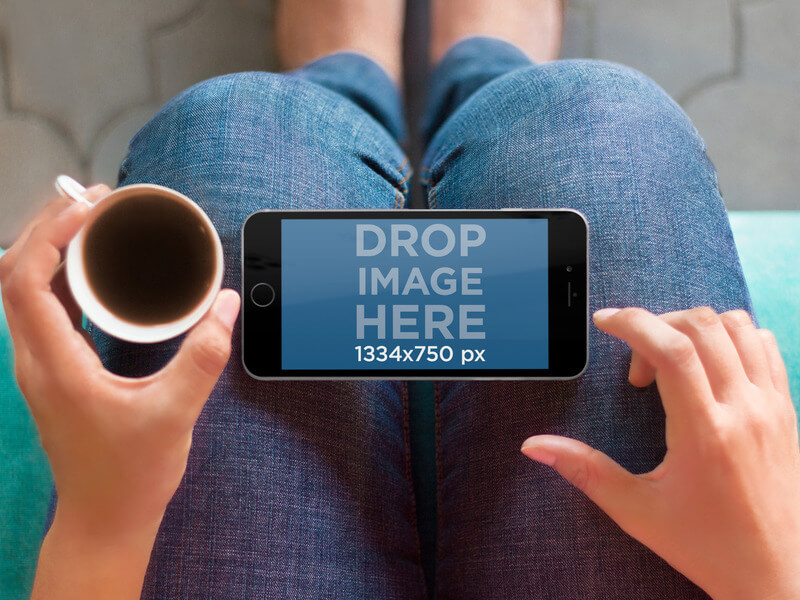 iPhone 6 Resting Over Woman's Lap Mockup Template