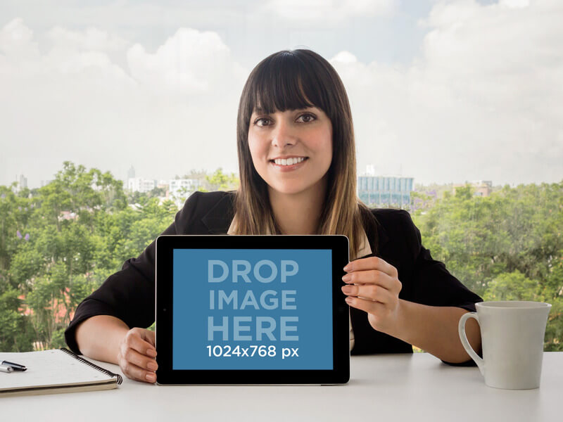 iPad Mockup Template of Businesswoman at the Office
