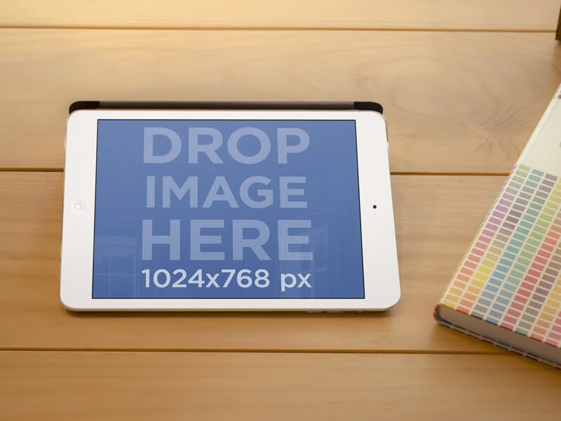 Mockup Generator of White iPad at Interior Designer Working Space