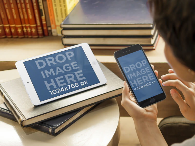 Mockup of Student Using iPad Mini and iPhone 6 in the Library