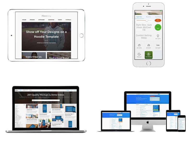 Transparent PNG Samples of an iPad Mockup, an iPhone Mockup, a Macbook Mockup and a Responsive Mockup