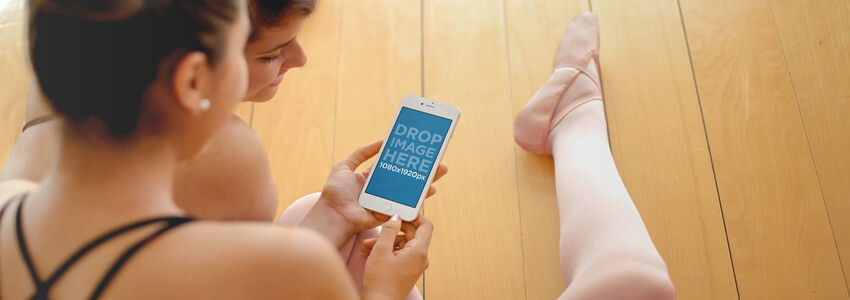 Girls Using iPhone 6 at Ballet Class Mockup Template