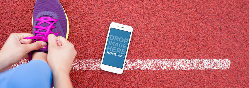 Beautiful iPhone 6 Mockup Template at a Running Track