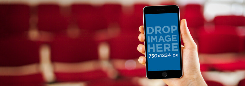 iPhone 6 Mockup Template at a Movie Theater