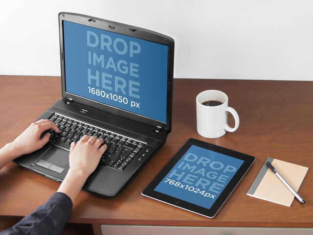 PC Laptop and iPad Mockup Template at a Creative Office