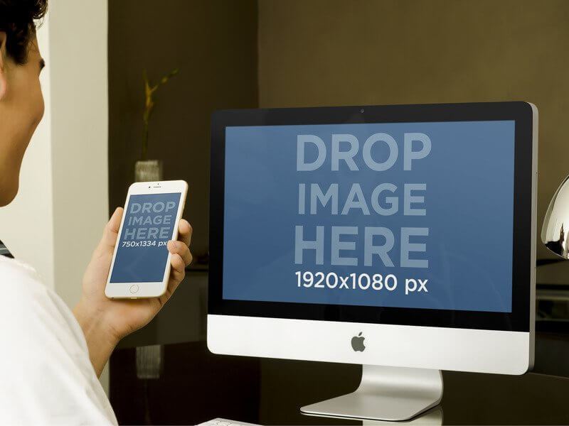 Iphone 6 And Imac Mockup Of Businessman At The Office