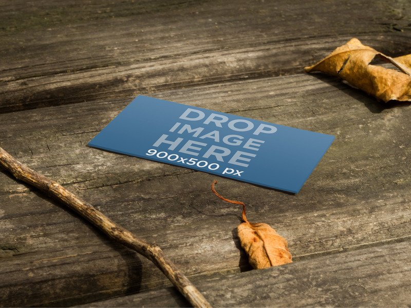 PRINT MOCKUP, BUSINESS CARD ON A WOODEN TABLE IN AUTUMN