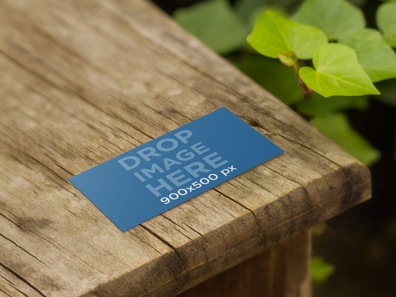 BUSINESS CARD MOCKUP IN NATURE ON A WOODEN TABLE