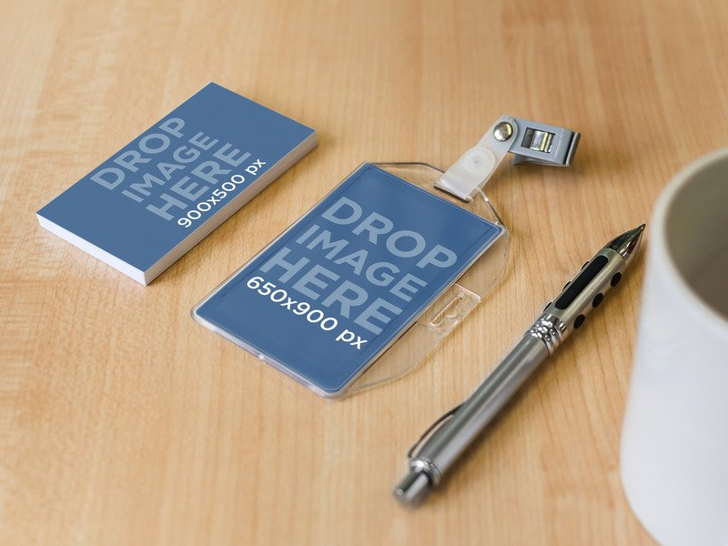PRINT STATIONERY MOCKUP OF BUSINESS CARD AND BADGE HOLDER