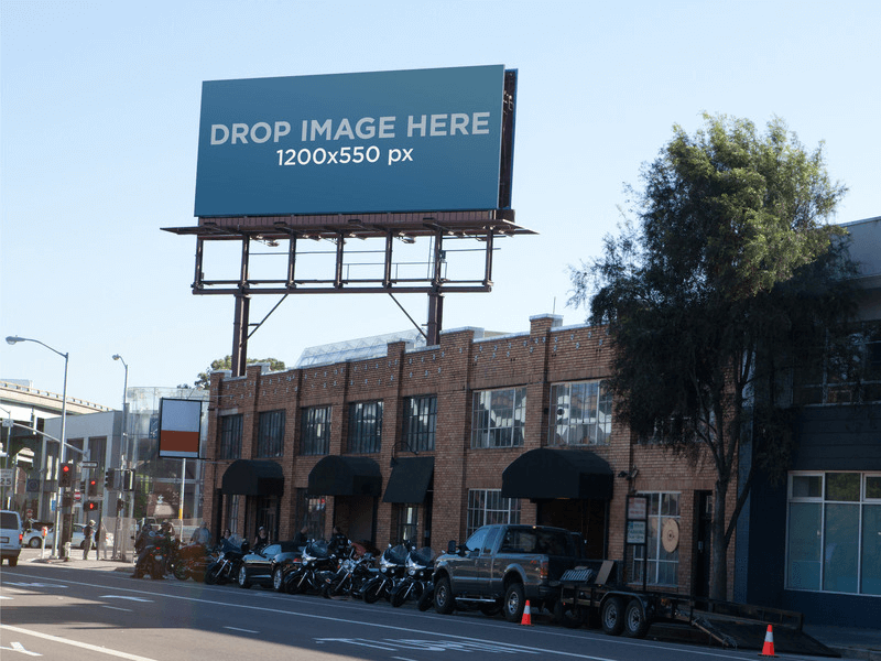 billboard over a building on the street