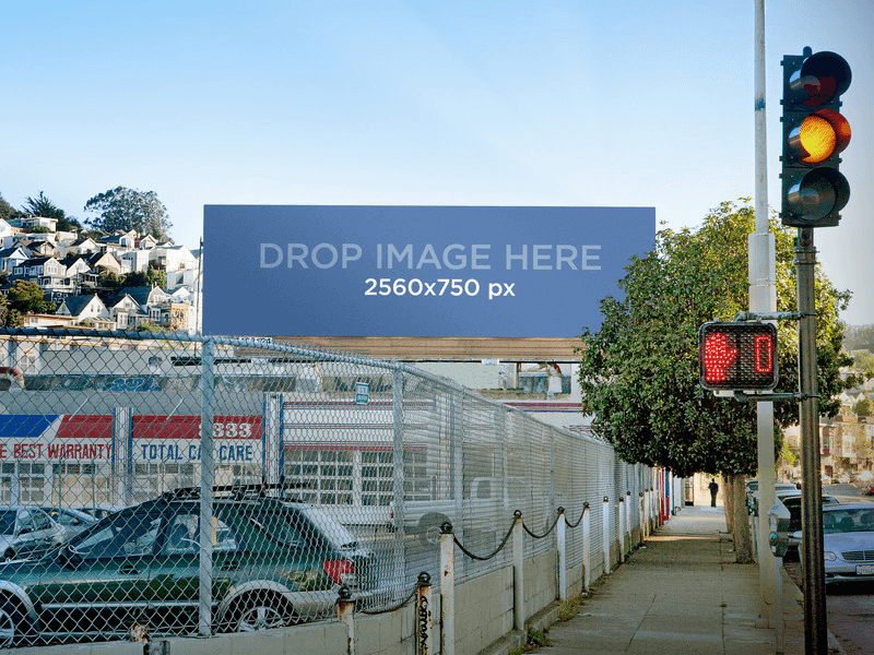 billboard on a parking lot