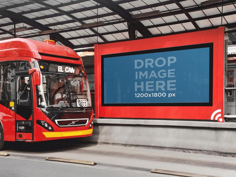 billboard on a bus station