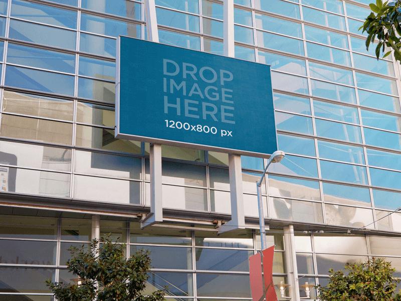 billboard mockup on a glass building