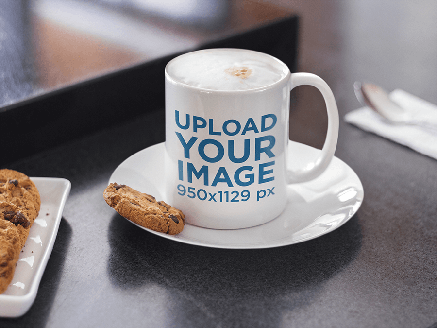 Mug Mockup With Cookie