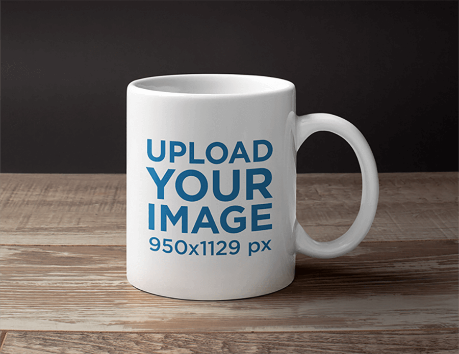 Mug Mockup Wood Table