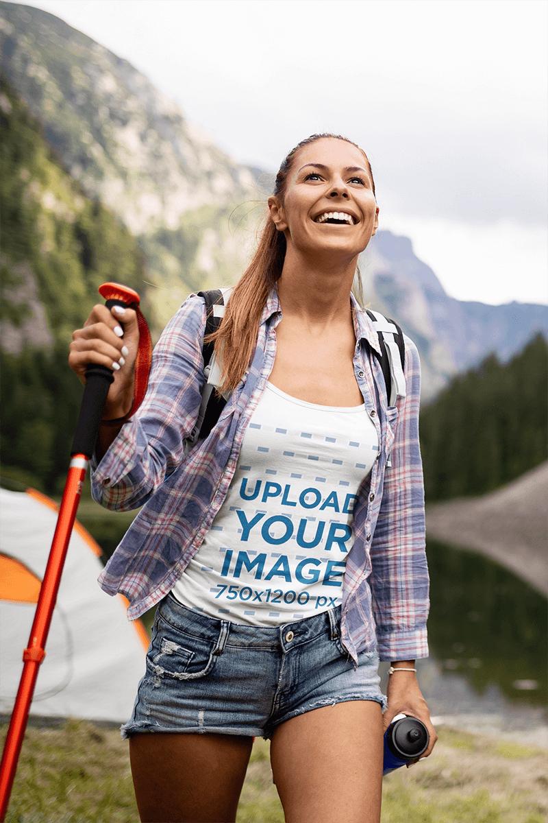 Mockup Of A Joyful Woman Wearing A Tank Top While Hiking