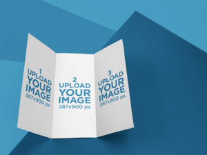 Open Trifold Brochure Mockup Lying On A Multicolor Surface