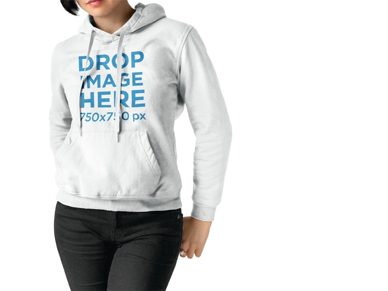 Mockup of a Girl Wearing a Pullover Hoodie While Standing Against a Transparent Backdrop
