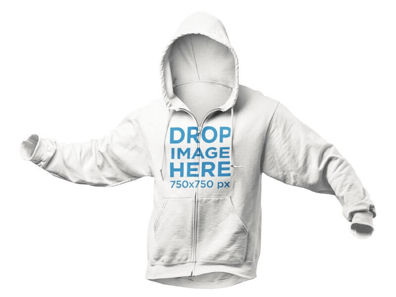Invisible Model Hoodie Mockup Over a PNG Background