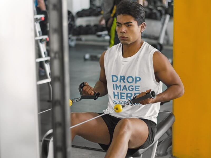 Man at the Gym Working Out in a Tank Top Mockup