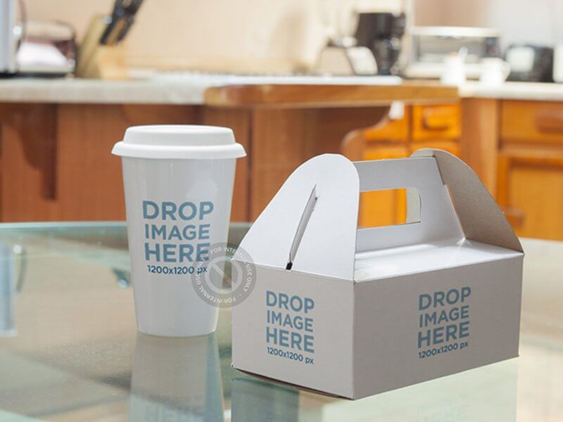 Label Mockup Featuring a Takeaway Coffee Cup and Paper Food Box