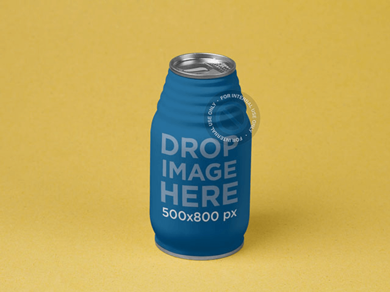 Label Mockup Featuring a Juice Can Over a Flat Surface