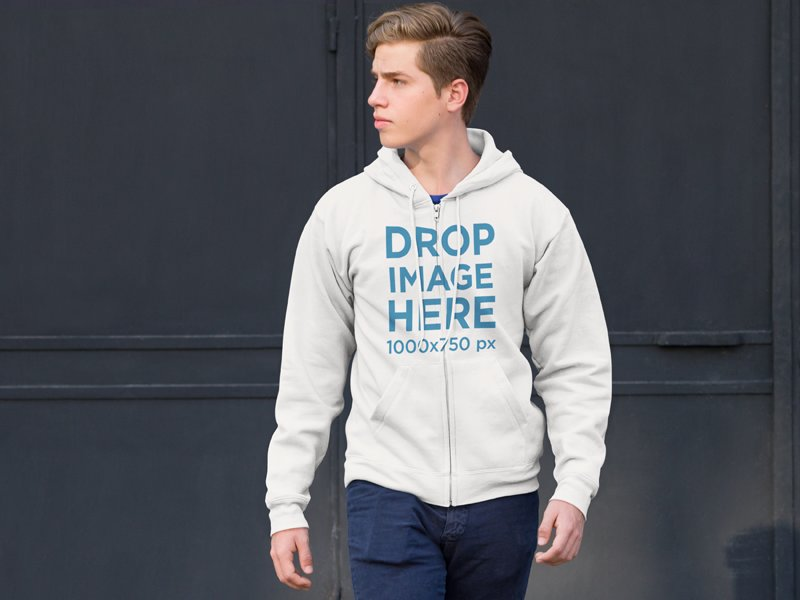 Zip Up Hoodie Mockup of a Young Man on the Street