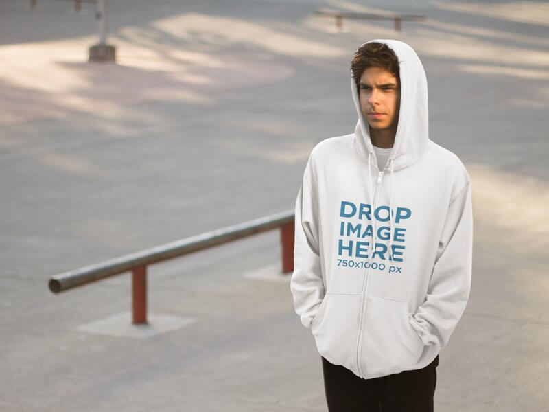Hoodie Mockup of a Young Man at a Skatepark