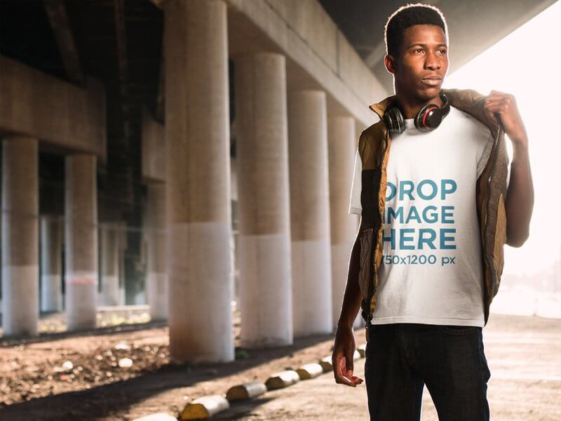 BLACK MAN IN URBAN ENVIRONMENT T-SHIRT MOCKUP