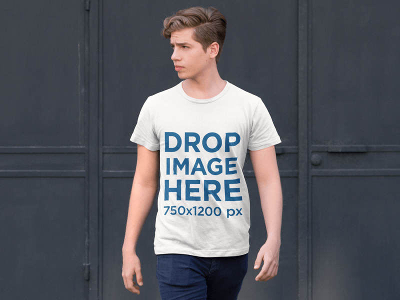 T-Shirt Mockup of a Young Man on the Street