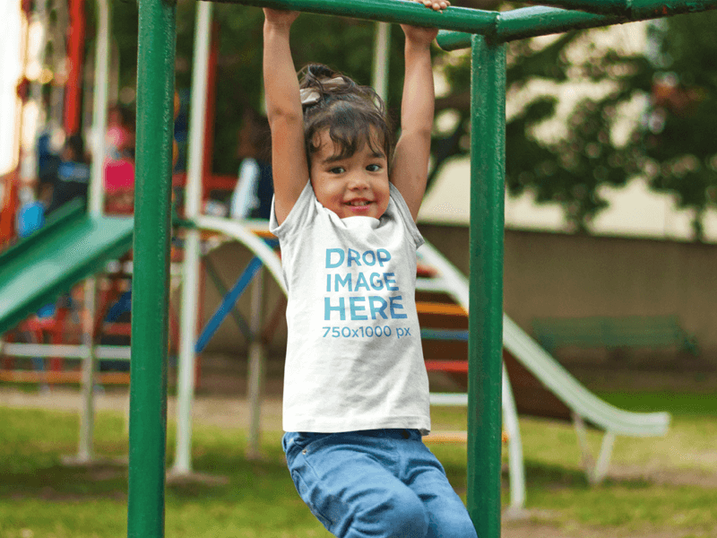 Young Girl Playing at the Park Tshirt Mockup