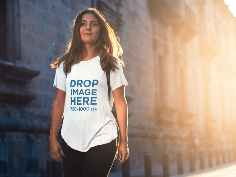 Woman Walking Down the Street T-Shirt Mockup