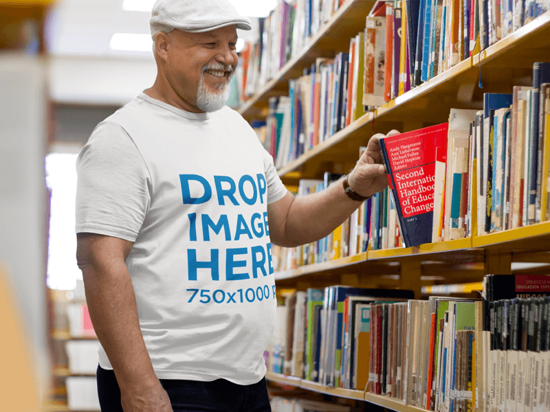 Senior Professor at the University's Library Wearing a Tee