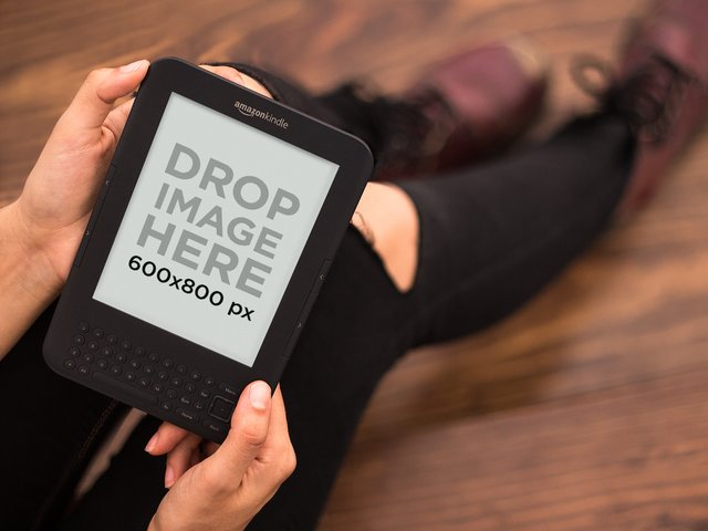 Hipster Girl Reading Her Amazon Kindle Mockup